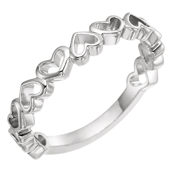 14K White Gold Open Heart Band