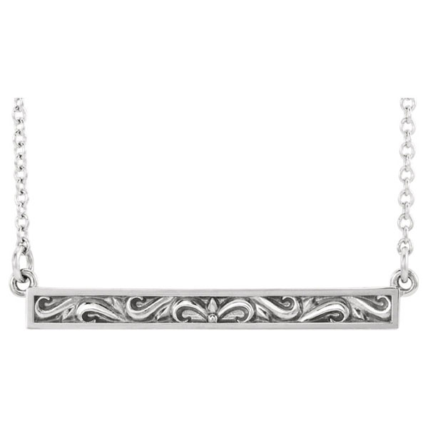 14K White Gold Paisley Scroll Bar Necklace, 18 Inches