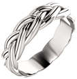 14K White Gold Sculptural Braided Wedding Band Ring