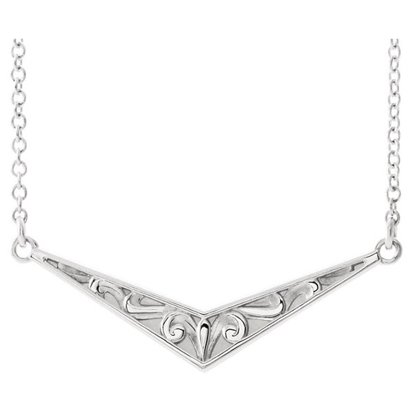 14K White Gold Sculptured V Bar Necklace, 16 - 18 Inches