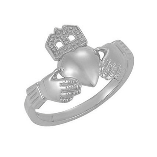 14K White Gold Traditional Claddagh Ring for Women