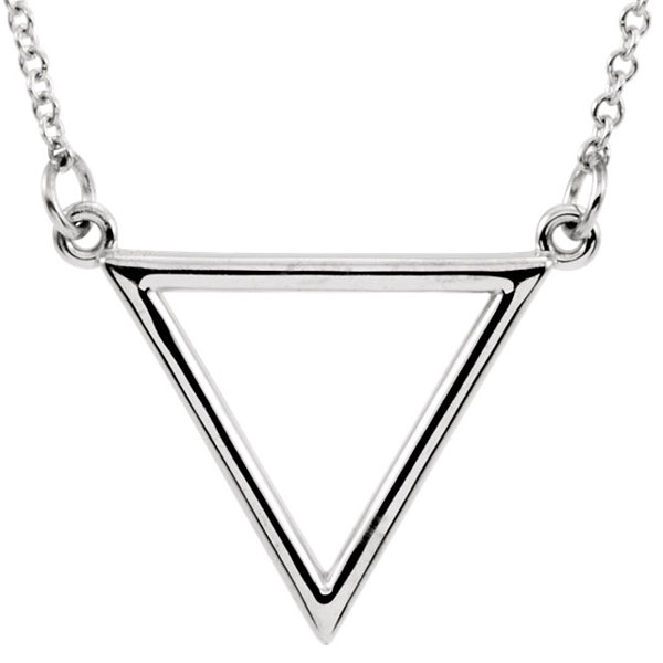 14K White Gold Triangle Necklace