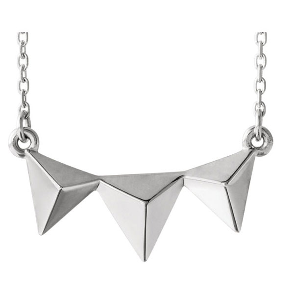 Sterling Silver 3 Pyramid Necklace