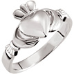 Women's Claddagh Ring in 14K White Gold