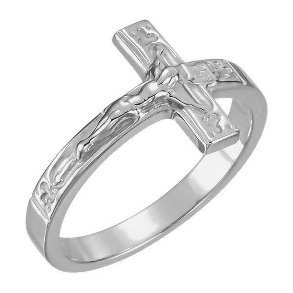 Sterling Silver Crucifix Ring for Women