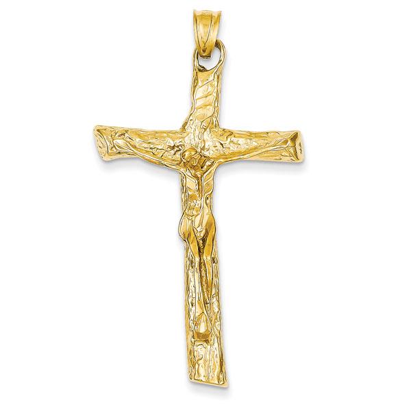 14K Yellow Gold Satin Crucifix Pendant