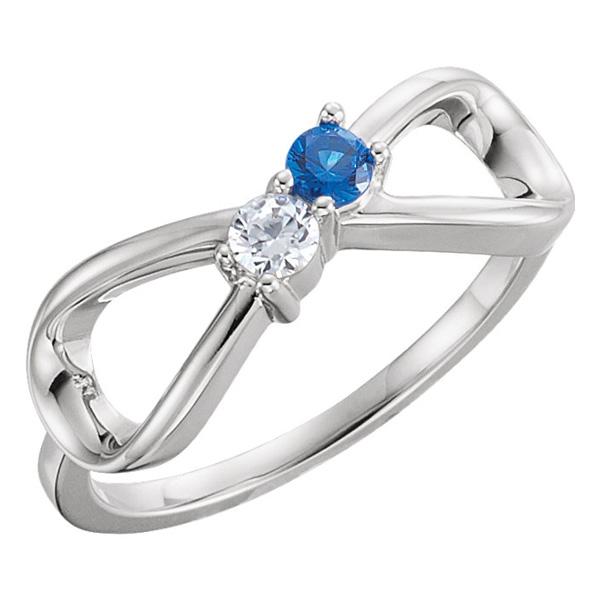 2-Stone Family Infinity Ring, 14K White Gold