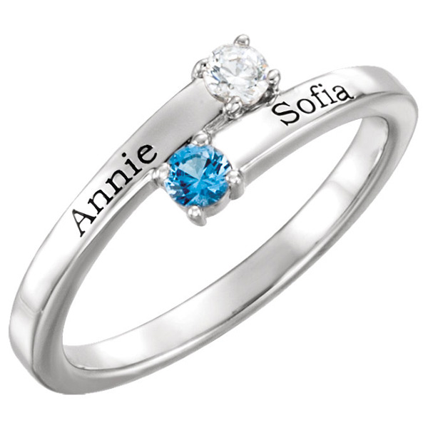 Sterling Silver 2-Stone Family Gemstone Ring with Names