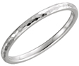 2mm 14K White Gold Hammered Wedding Band Ring