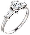 1 Carat Three-Stone Diamond Baguette Engagement Ring