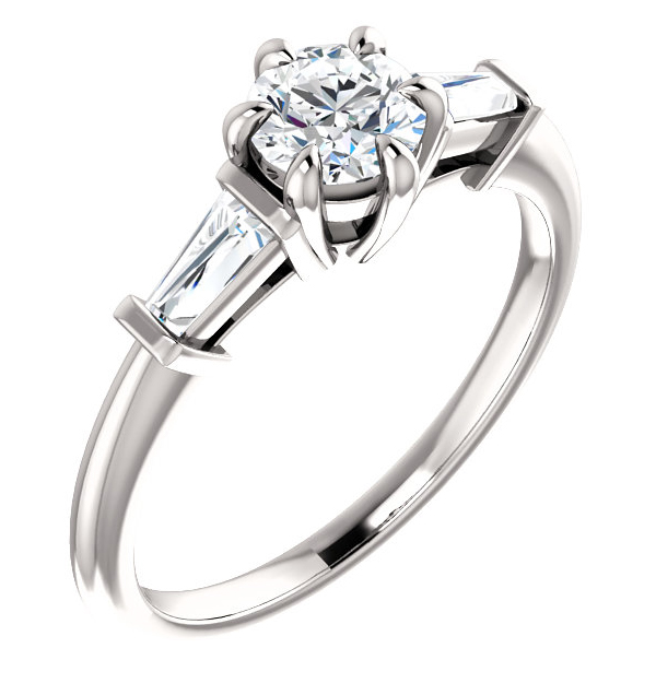 3/4 Carat Three-Stone Diamond Baguette Engagement Ring