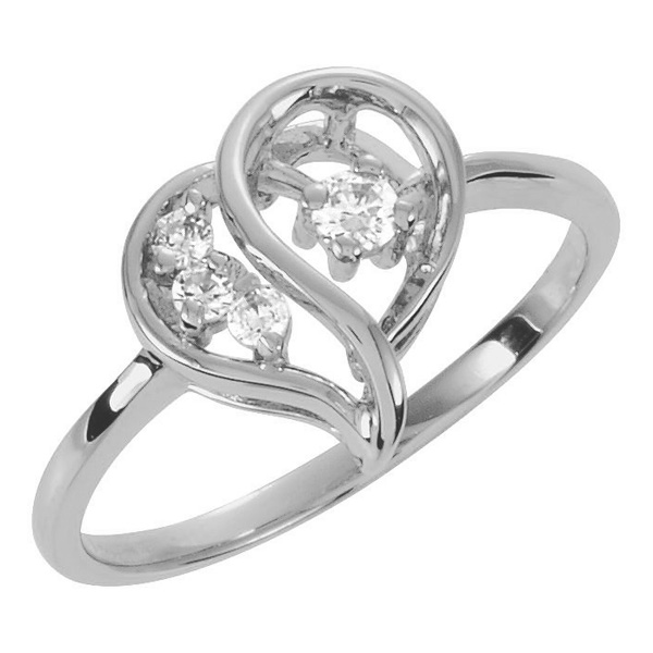 3 AND 1 DIAMOND AND WHITE GOLD HEART RING