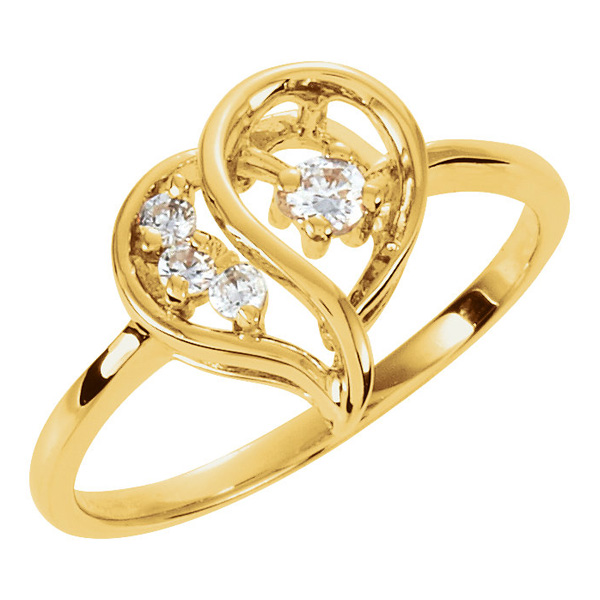 3 and 1  Diamond Heart Ring in Gold