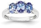 Three-Stone Oval Tanzanite Ring in Sterling Silver