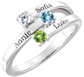 3 Stone Custom Family Gemstone Engravable Ring with Names, Sterling Silver