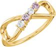 4-Stone Gemstone Infinity Symbol Family Ring