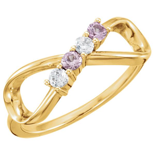 4 Stone Gemstone Infinity Symbol Family Ring