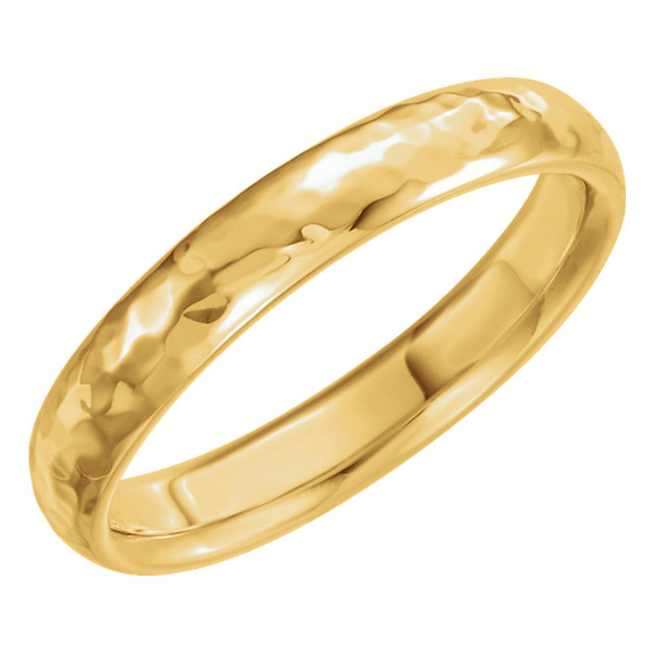 4mm 14K Gold Hammered Comfort-Fit Wedding Band