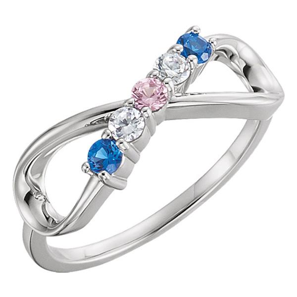 Custom 5-Stone Family Infinity Ring in Silver