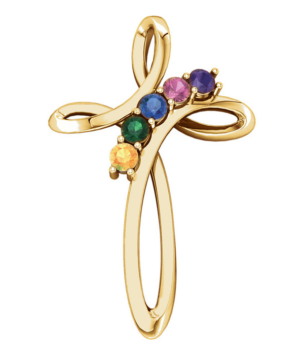 5-Stone Personalized Family Gemstone Cross Pendant in 14K Yellow Gold