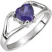 6x6mm Amethyst Heart Embrace Ring