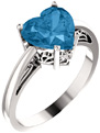 Swiss-Blue Topaz 8mm Heart-Shaped Silver Ring