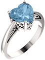 8mm x 8mm Sky Blue Topaz Heart-Cut Ring