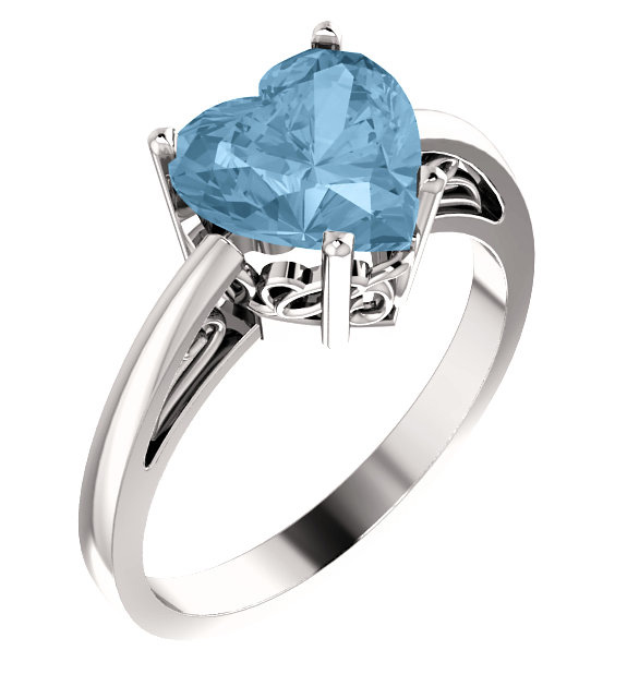 Sterling Silver Sky Blue Topaz Heart-Shaped Ring