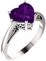 8x8mm Amethyst Heart-Cut Silver Solitaire Ring