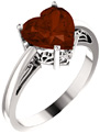 8x8mm Heart-Shaped Garnet Ring in White Gold
