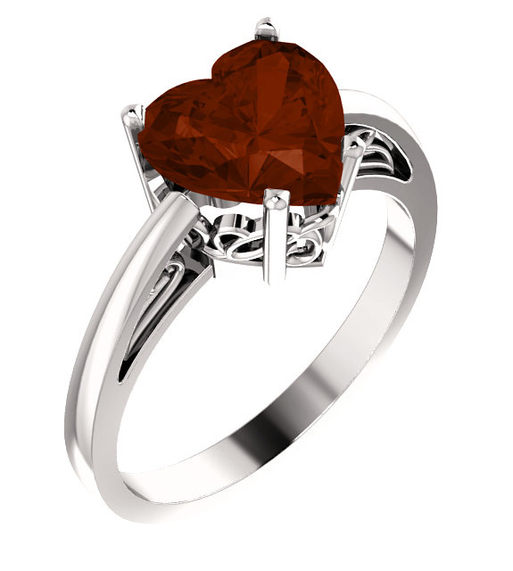 HEART-SHAPED GARNET RING IN WHITE GOLD