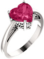 8x8mm Pink Topaz Heart-Shaped Ring