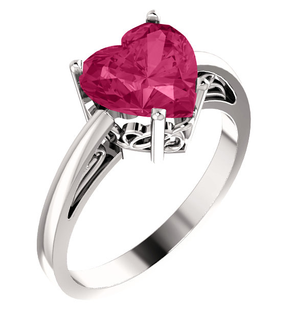 8x8mm Pink Topaz Heart-Cut Solitaire Ring in Silver