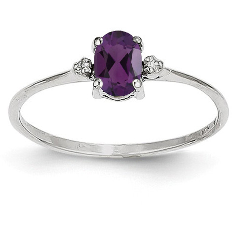 Amethyst and Diamond Birthstone Ring, 14K White Gold
