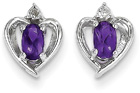 Amethyst and Diamond Heart Earrings in 14K White Gold