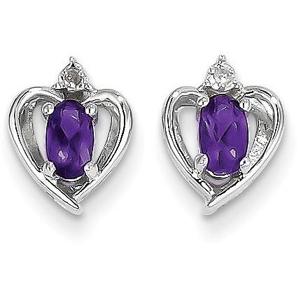 Amethyst and Diamond Heart Earrings in 14K White Gold
