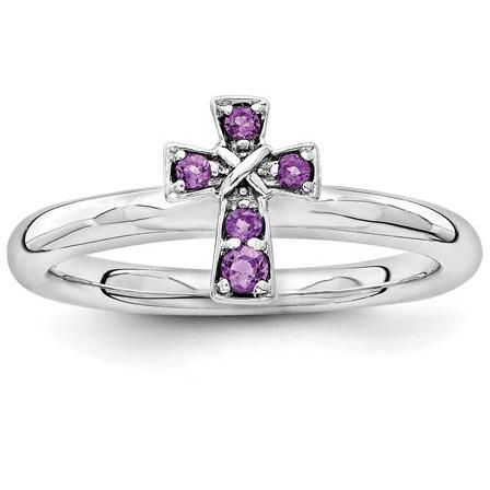Amethyst Cross Ring, Sterling Silver