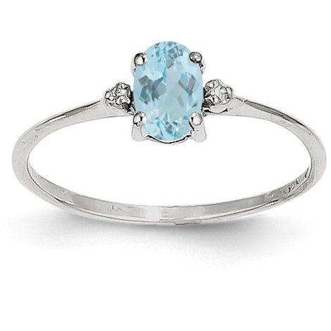 Aquamarine and Diamond Birthstone Ring, 14K White Gold