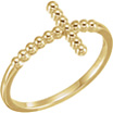 Beaded Cross Ring in 14K Gold