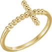Beaded Cross Ring in 14K Gold