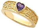 Bezel-Set Amethyst Floral Heart Ring