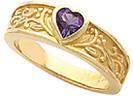 Bezel-Set Amethyst Floral Heart Ring
