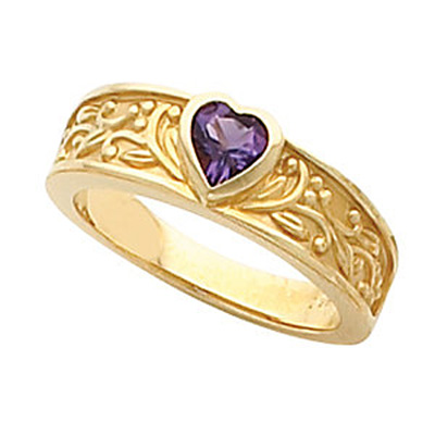 Bezel set amethyst floral heart ring