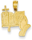 Bible, Cross, and Praying Hand Pendant in 14K Gold