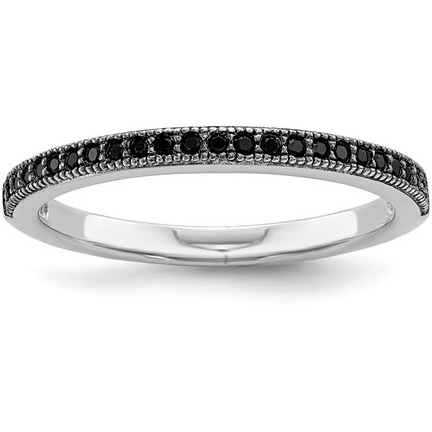 Black CZ & Sterling Silver Stackable Ring
