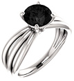 Black Onyx Tri-Band Ring, 14K White Gold