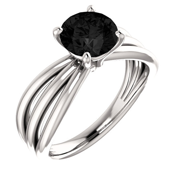 Black Onyx Trinity Band Ring in Sterling Silver