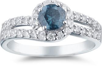 0.93 Carat Blue and White Diamond Swirl Ring