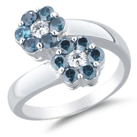 1.18 Carat Double Flower Blue and White Diamond Ring