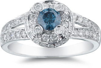 1.06 Carat Blue and White Diamond Ring